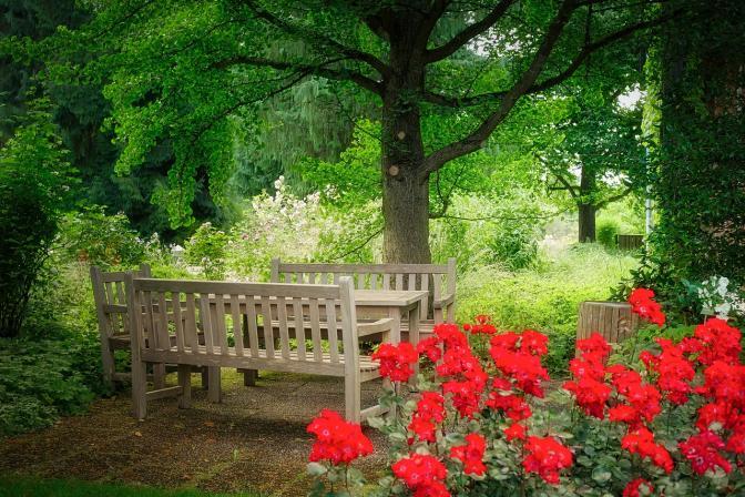 "alt=""meuble jardin en bois naturel """